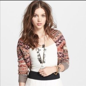 Free People Taupe Combo Carnival Shrug Sweater S/P